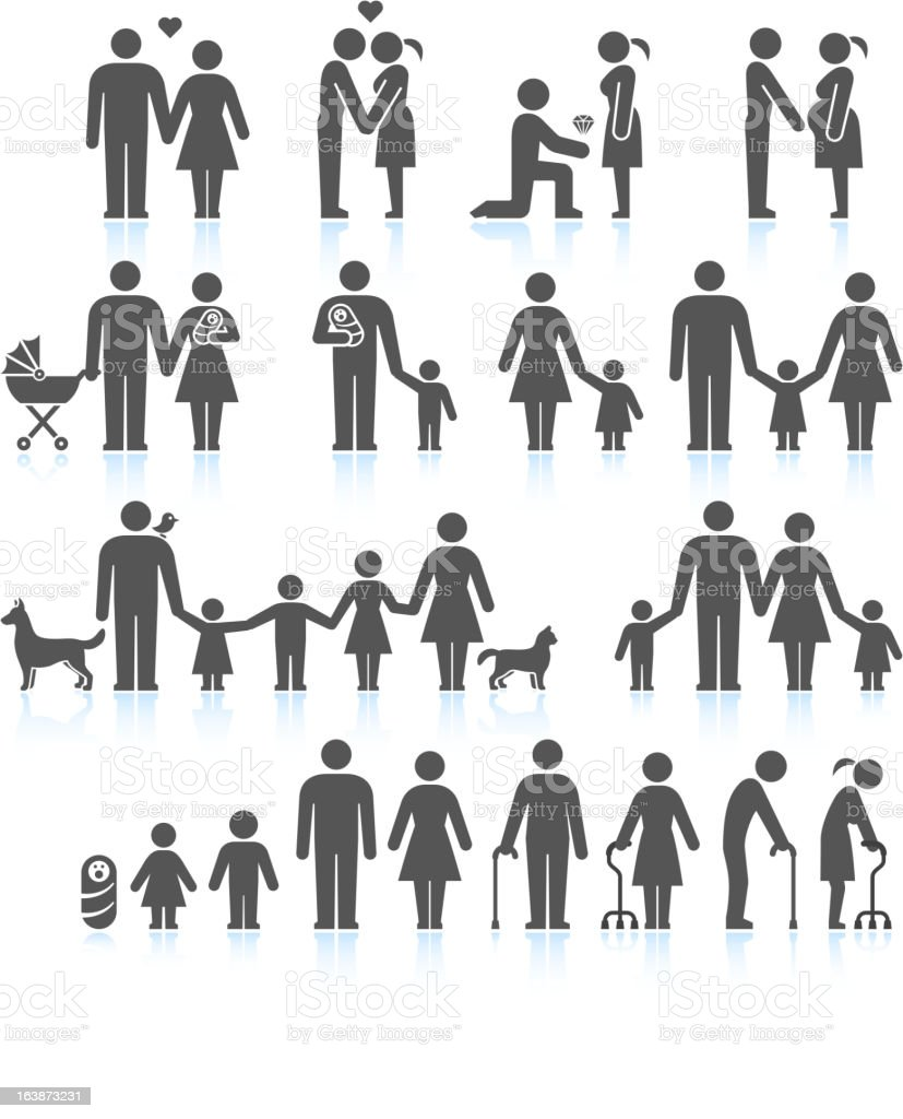 Men and women Family Life black & white icon set vector art illustration