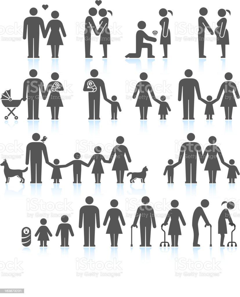Men and women Family Life black & white icon set vector art illustration