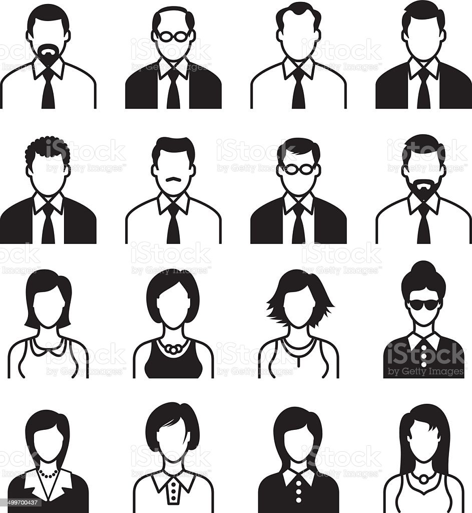 Men and Women Icon Set, Black & White vector art illustration