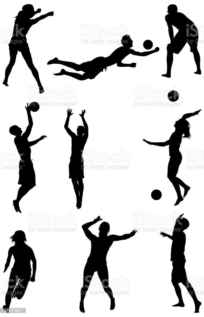 Men and women playing volleyball royalty-free stock vector art