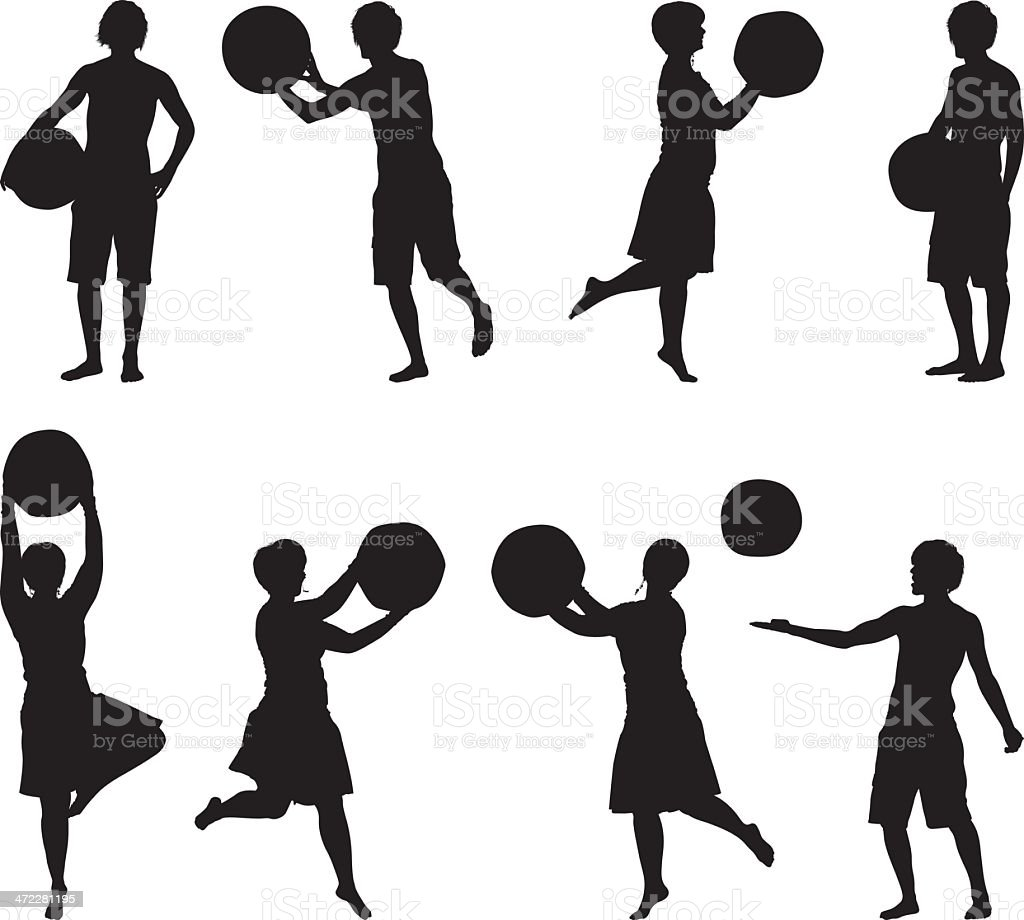 Men and women playing with a beach ball royalty-free stock vector art