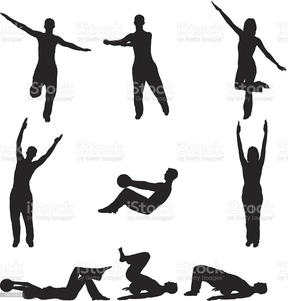 Men and women practicing yoga vector art illustration