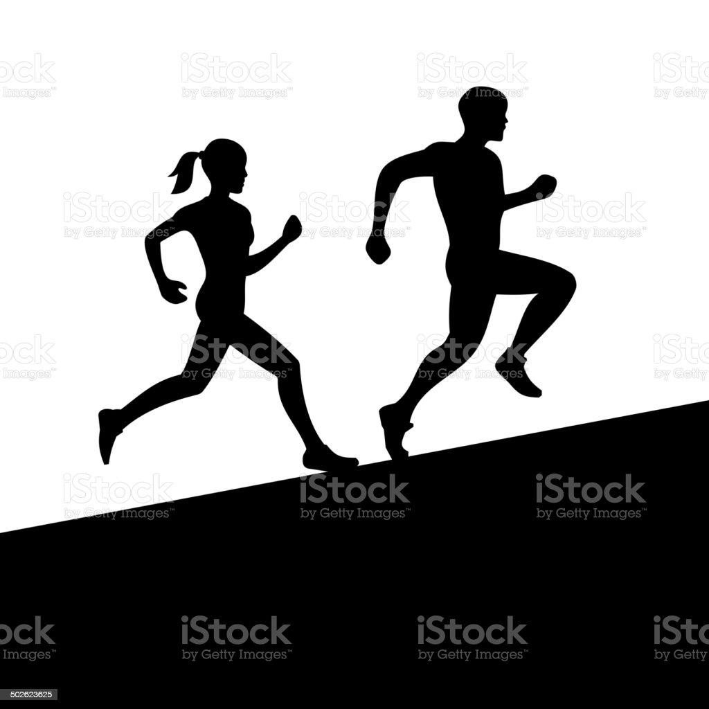 Men and Women Running Silhouette. Vector royalty-free stock vector art