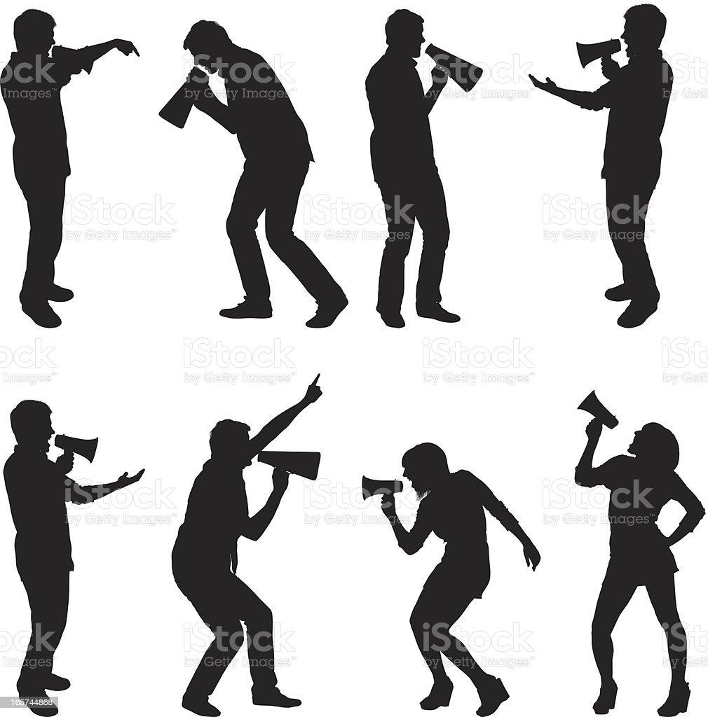 Men and women shouting in megaphone vector art illustration