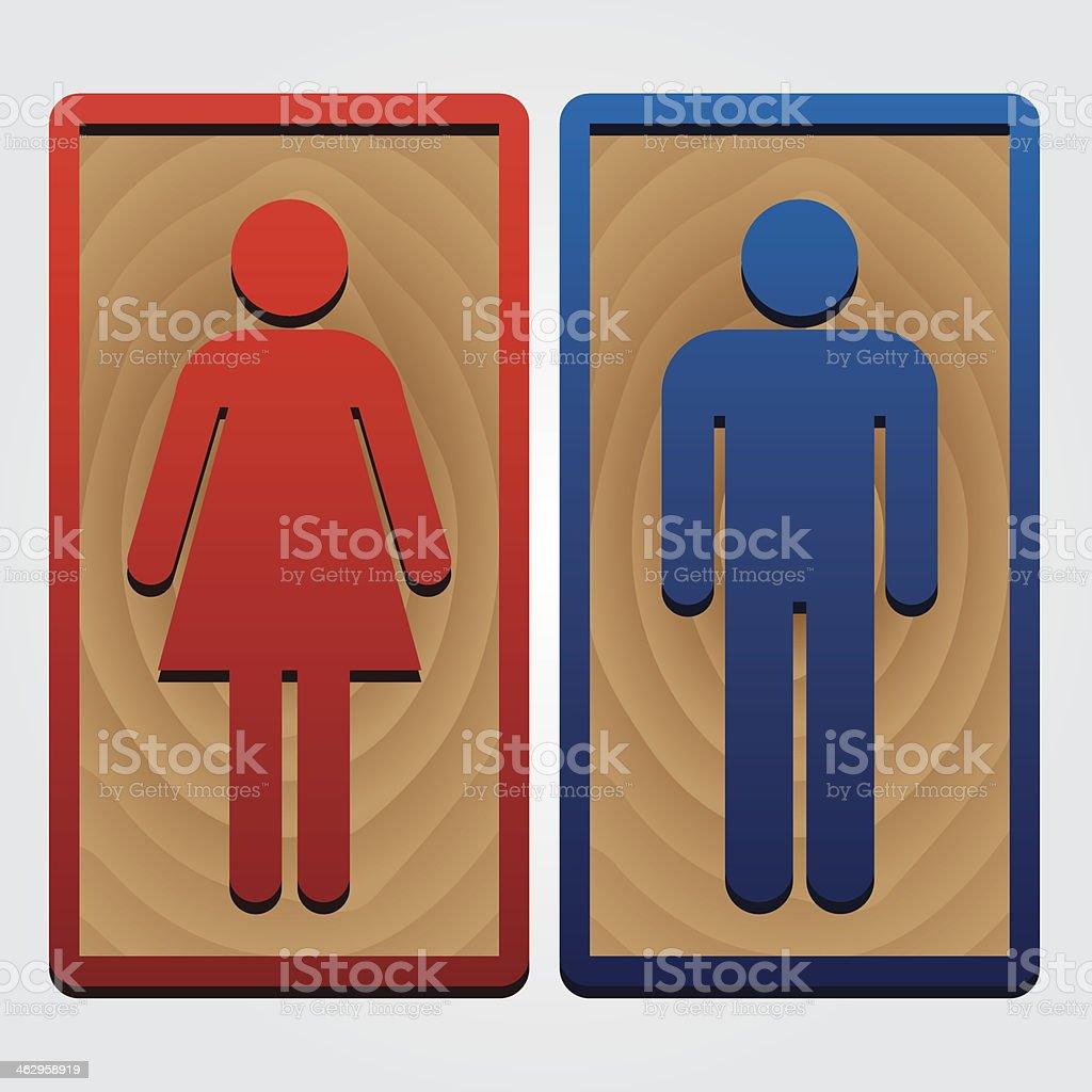 Men and Women Toilet Wood Sign. royalty-free stock vector art