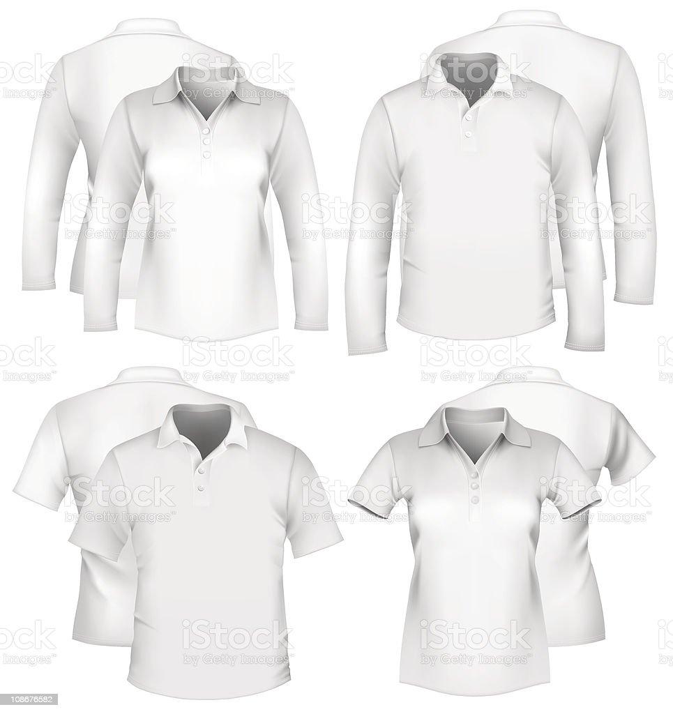 Men and women white shirt designs royalty-free stock vector art