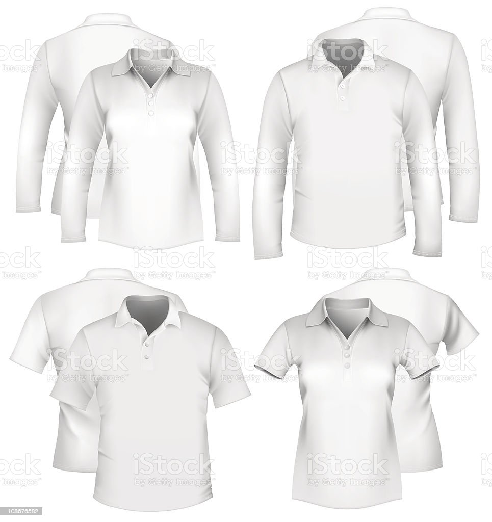 Men and women white shirt designs vector art illustration