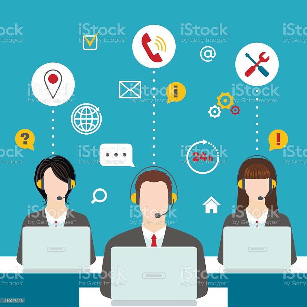 Men and women working in a call center. vector art illustration