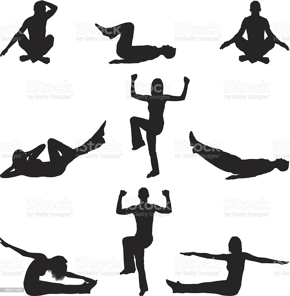 Men and women working out doing yoga with aerobics royalty-free stock vector art