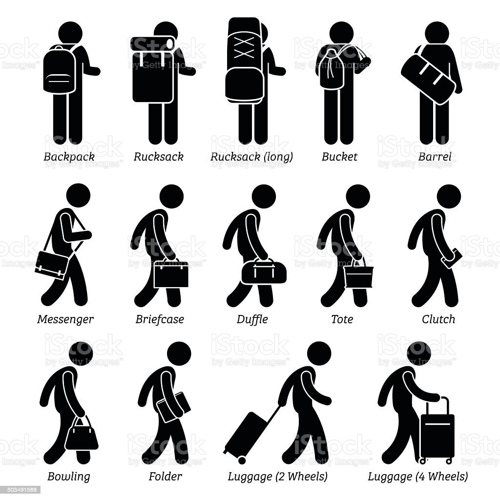 Men Bags Wallet Luggage Design Style vector art illustration