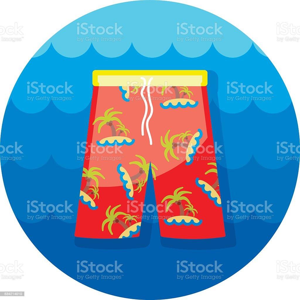 Men Beach Shorts icon. Summer. Vacation vector art illustration