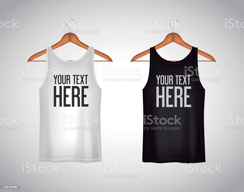 Men black and white tank top. Realistic mockup with text vector art illustration