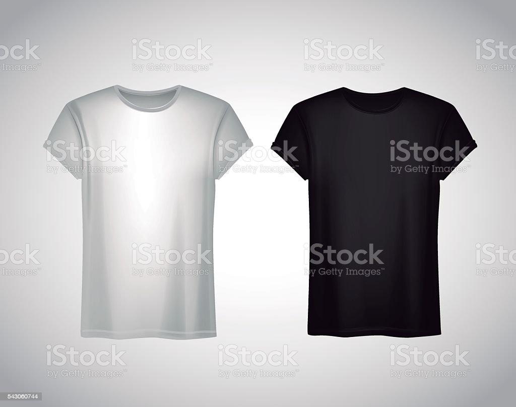 Black t shirt vector photoshop - Men Black And White T Shirt Realistic Mockup Short Sleeve T Sh