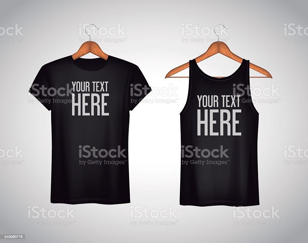 Men black tank top and t-shirt. Realistic mockup whit text vector art illustration