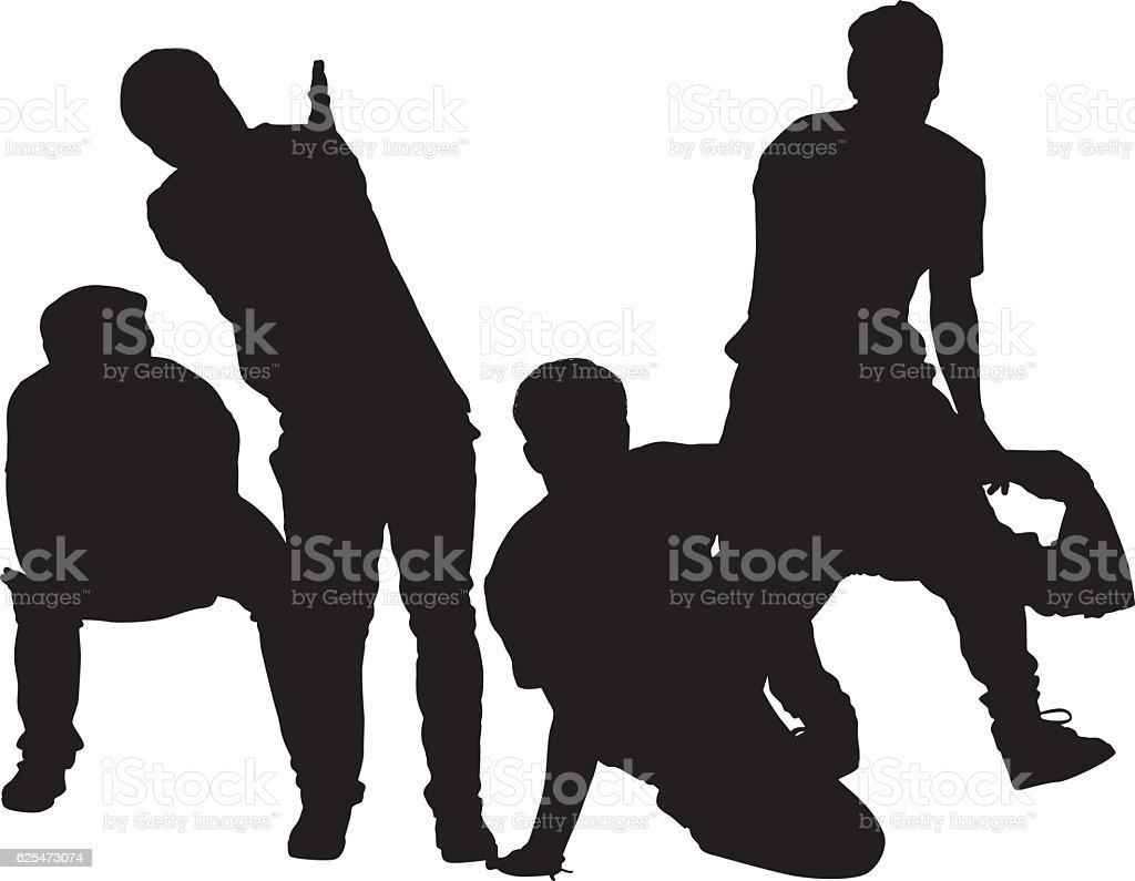 Men breakdancing vector art illustration