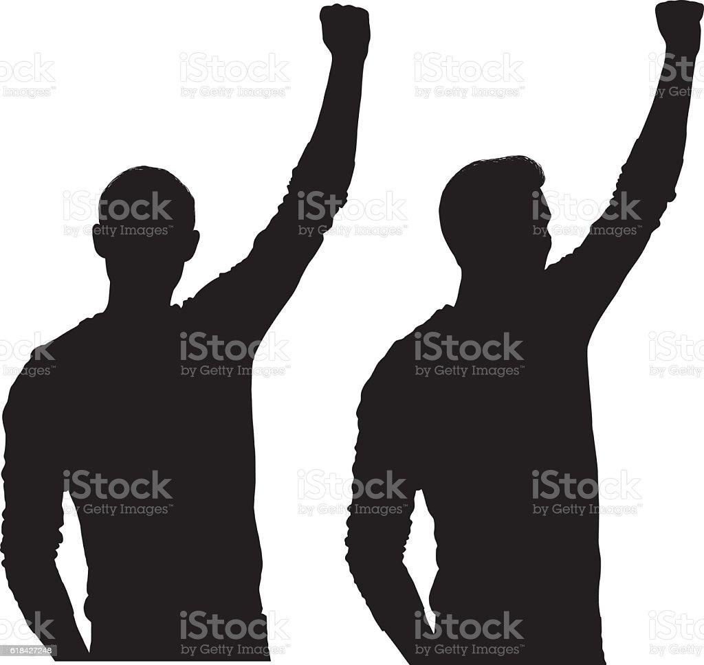 Men cheering vector art illustration