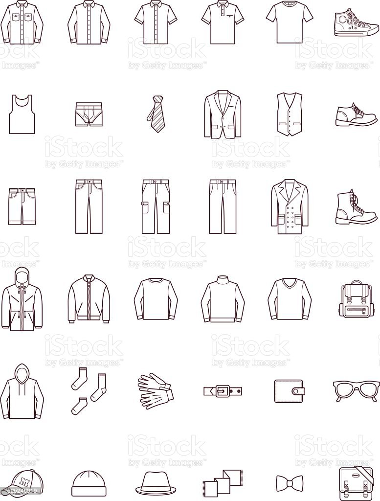 Men clothes set vector art illustration