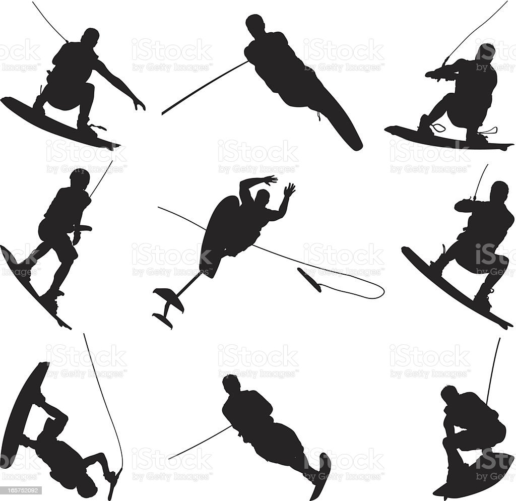 Men doing awesome tricks while wake boarding royalty-free stock vector art