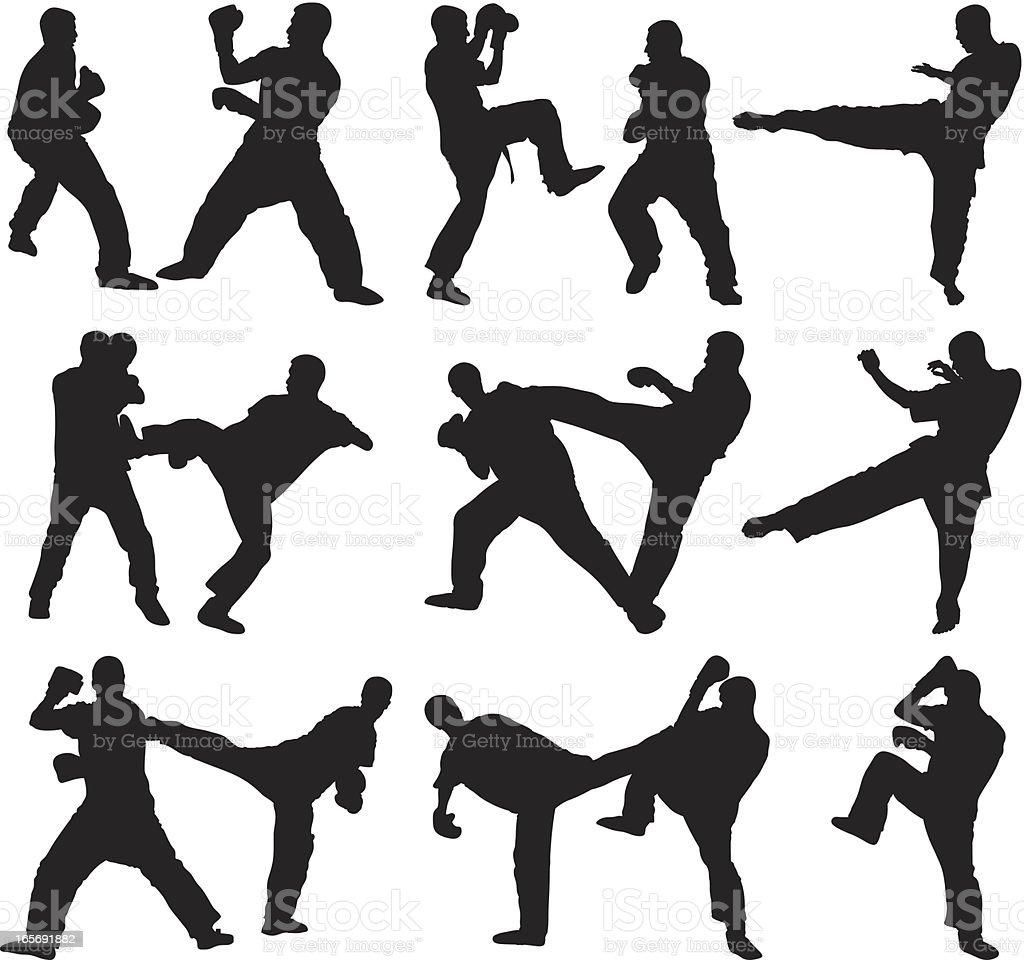 Men doing kickboxing vector art illustration