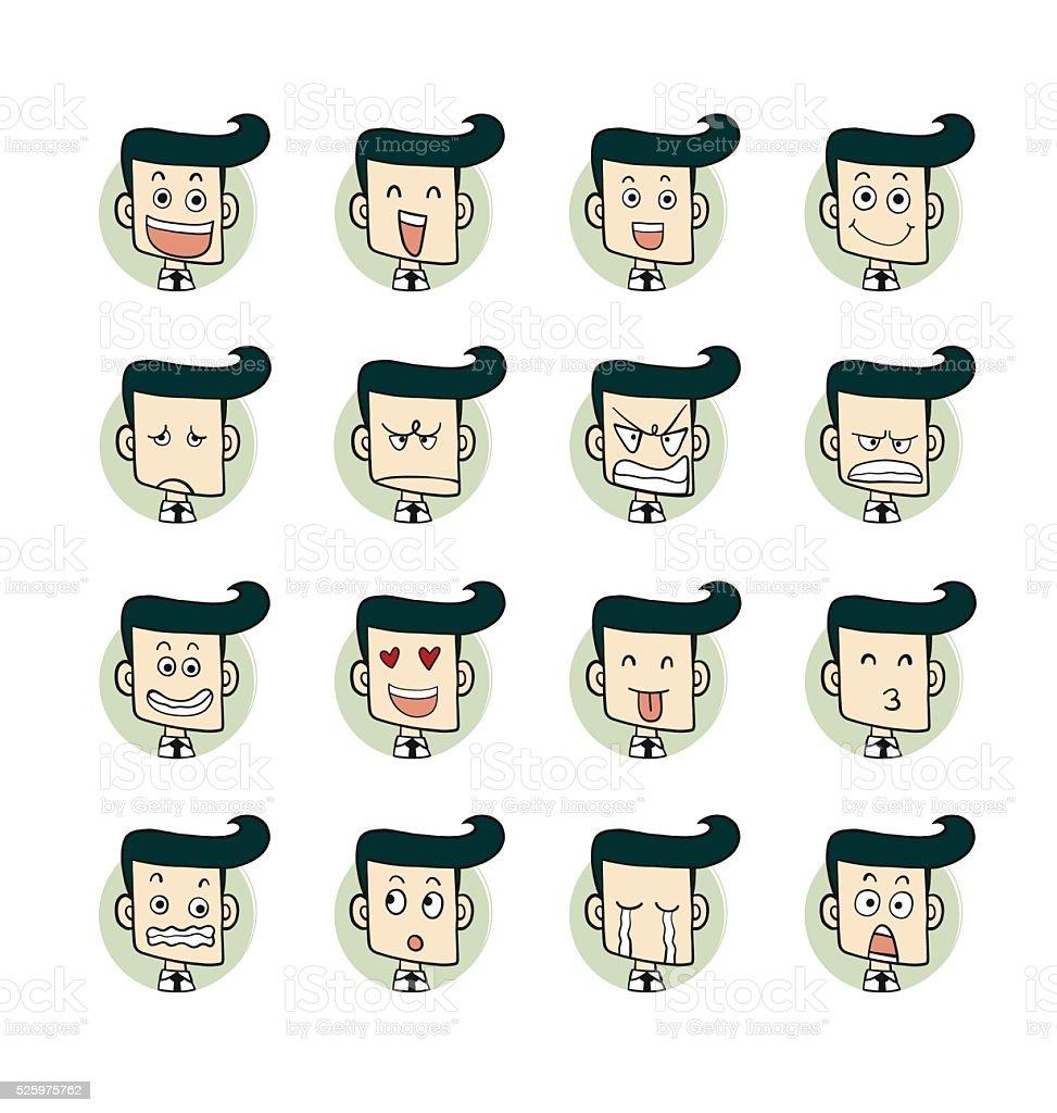 Men emotions faces. vector art illustration