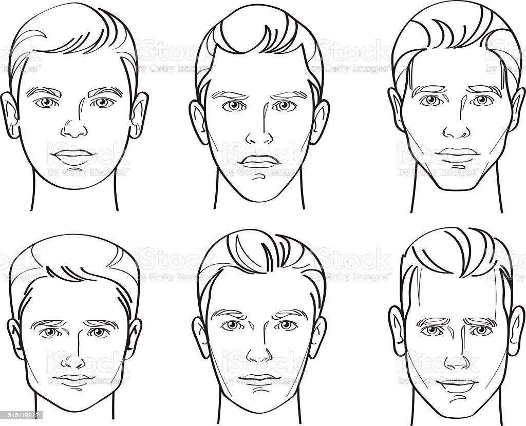 Men Face Shape Line Drawing Illustration vector art illustration