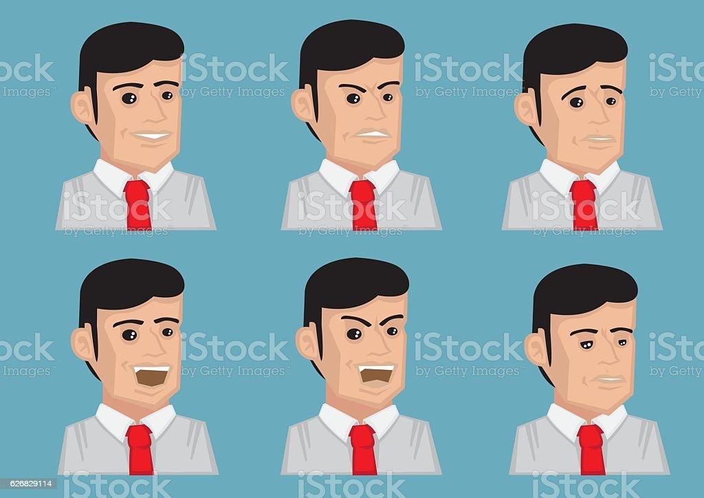 Men Facial Expressions Vector Illustration vector art illustration
