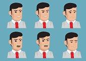 Men Facial Expressions Vector Illustration