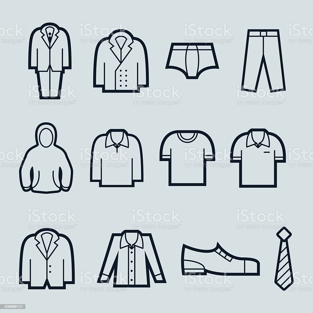 Men fashion icons vector art illustration