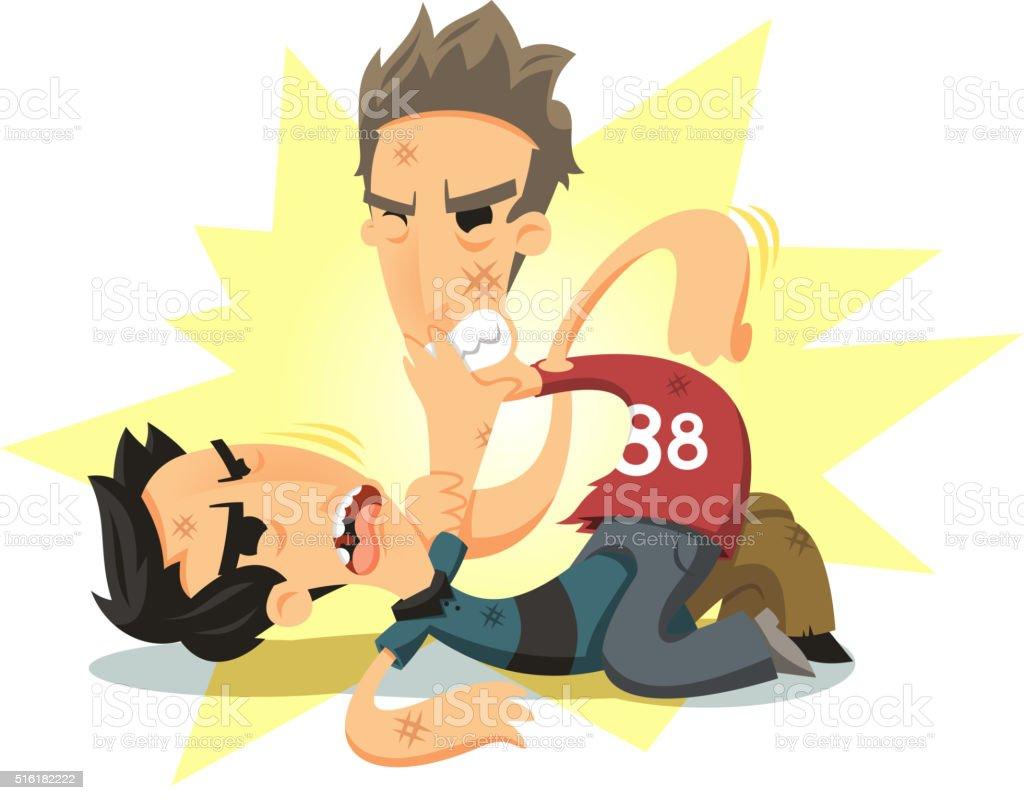 men fighting vector art illustration