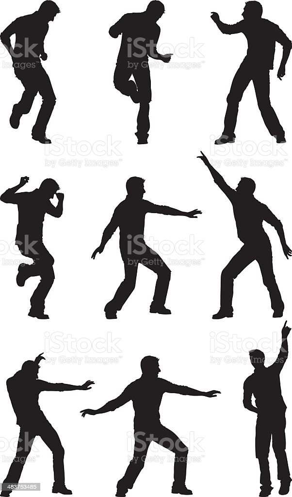 Men getting jiggy with it dancing vector art illustration