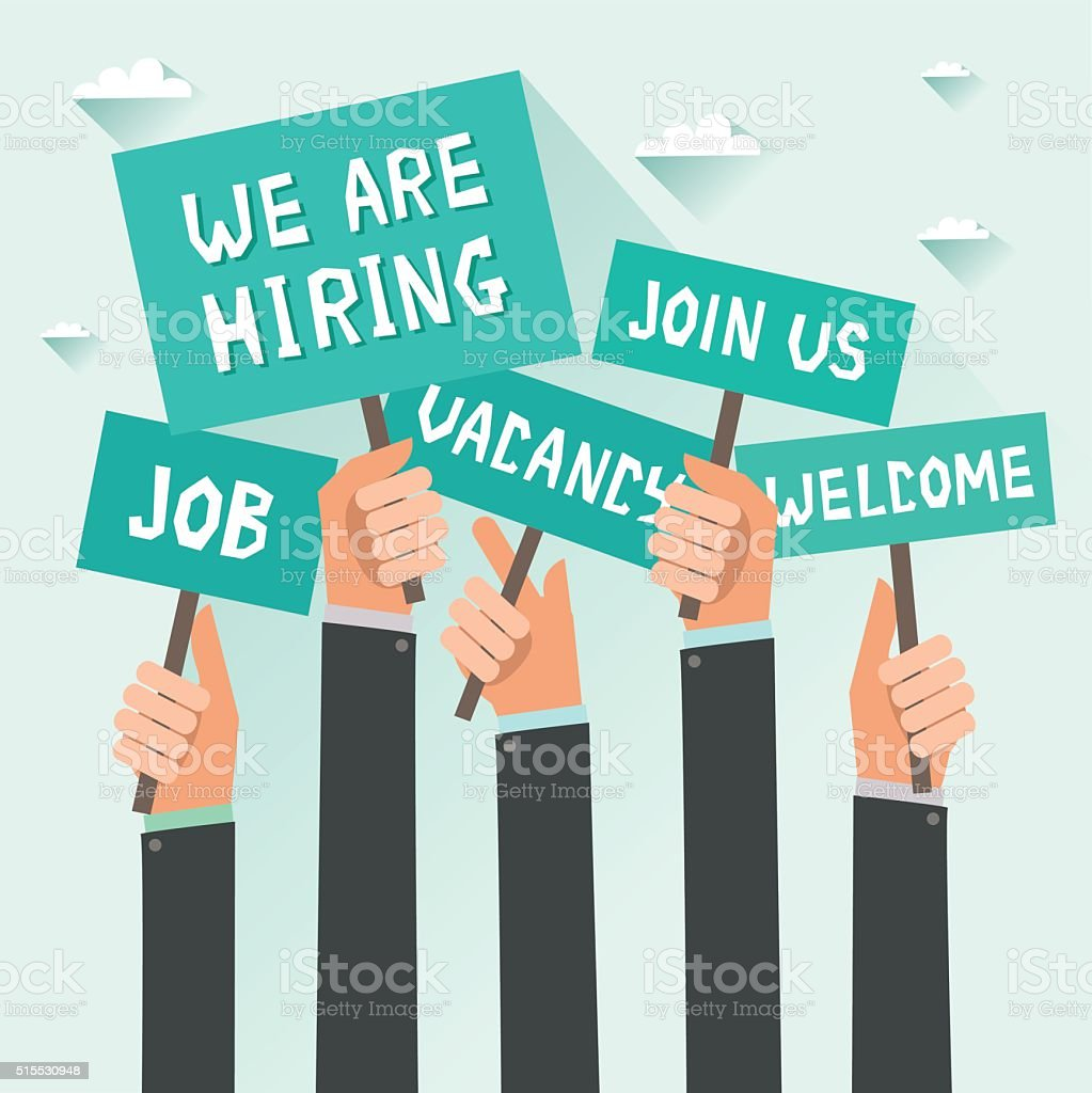 Men hands holding signs with Vacancy, Job, We are hiring vector art illustration