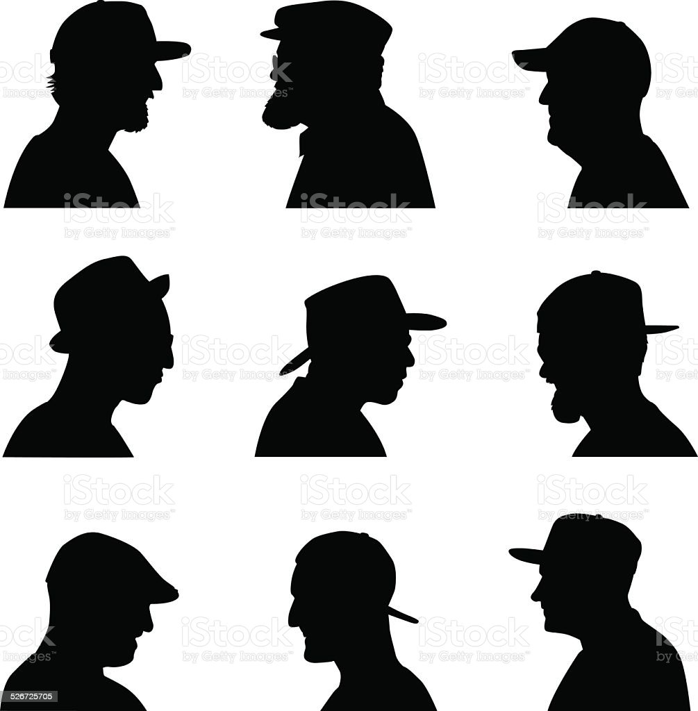 Men Heads With Hats vector art illustration
