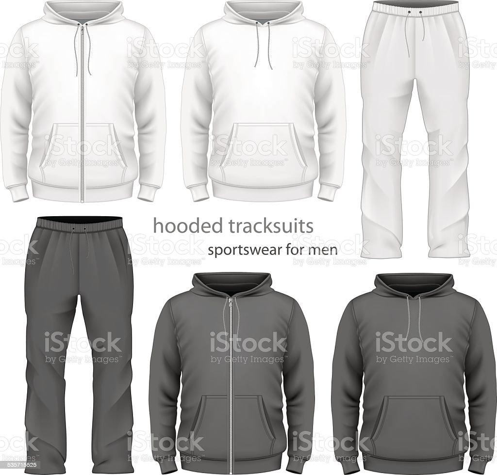 Men hooded tracksuit. vector art illustration