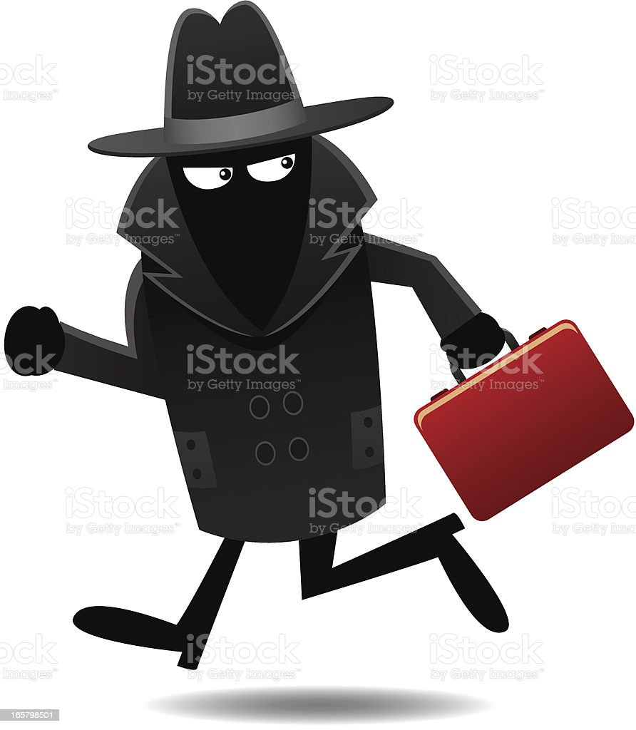 Men in Black Escaping with Briefcase royalty-free stock vector art