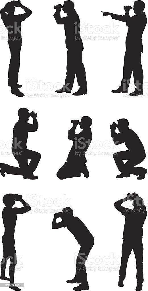 Men in different poses looking through binoculars royalty-free stock vector art