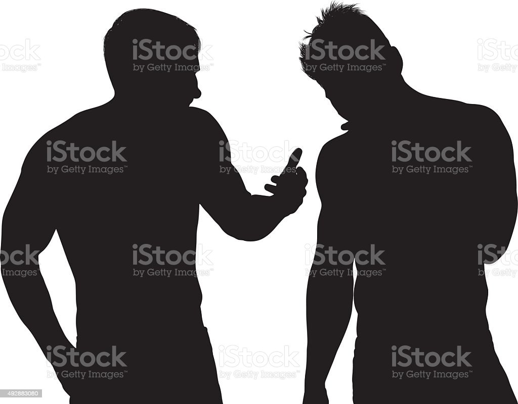 Men in discussion vector art illustration