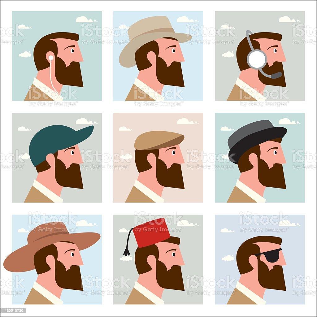 Men in hats vector art illustration