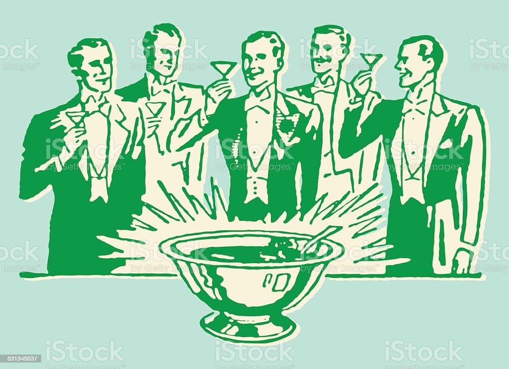 Men in Tuxedo Toasting Around Punch Bowl vector art illustration