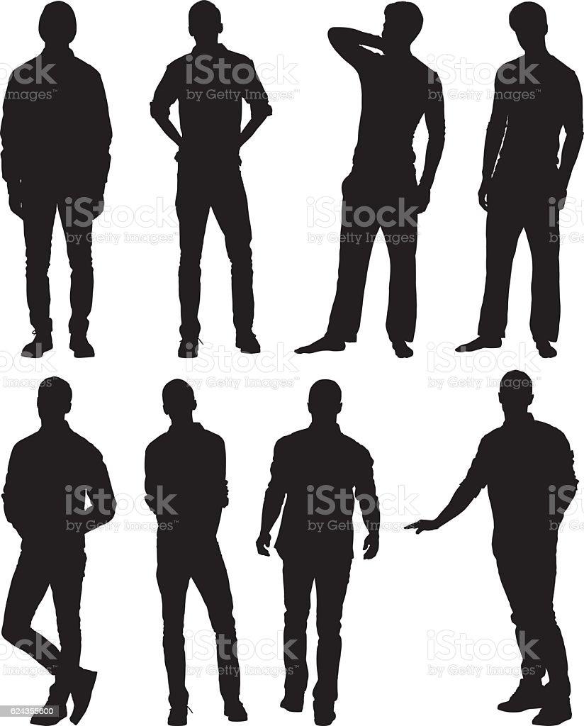 Men in various action vector art illustration