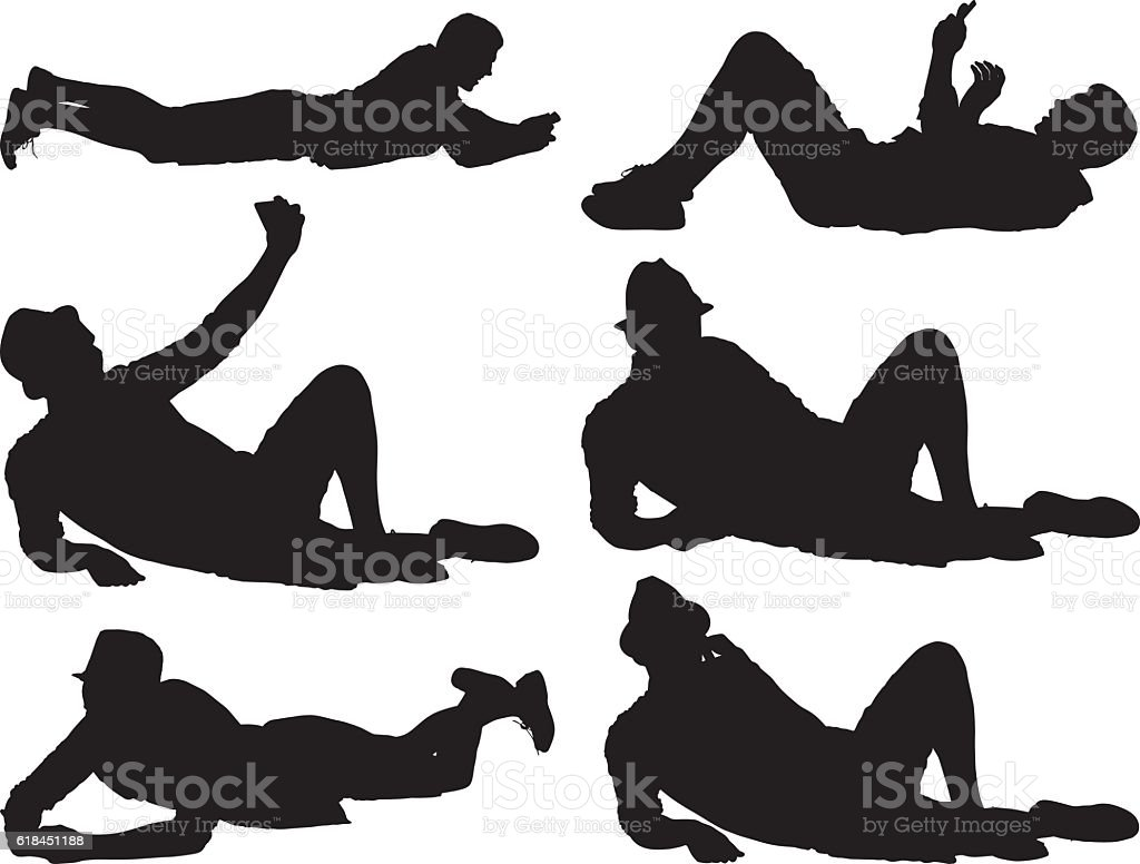 Men in various actions vector art illustration