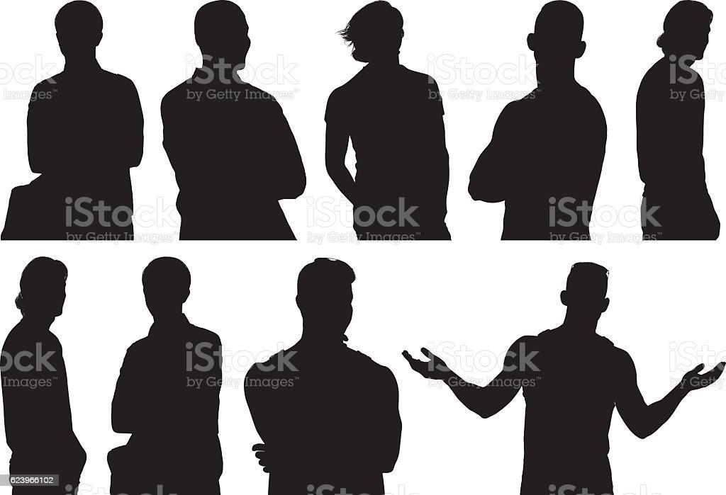 Men in various actions vector art illustration