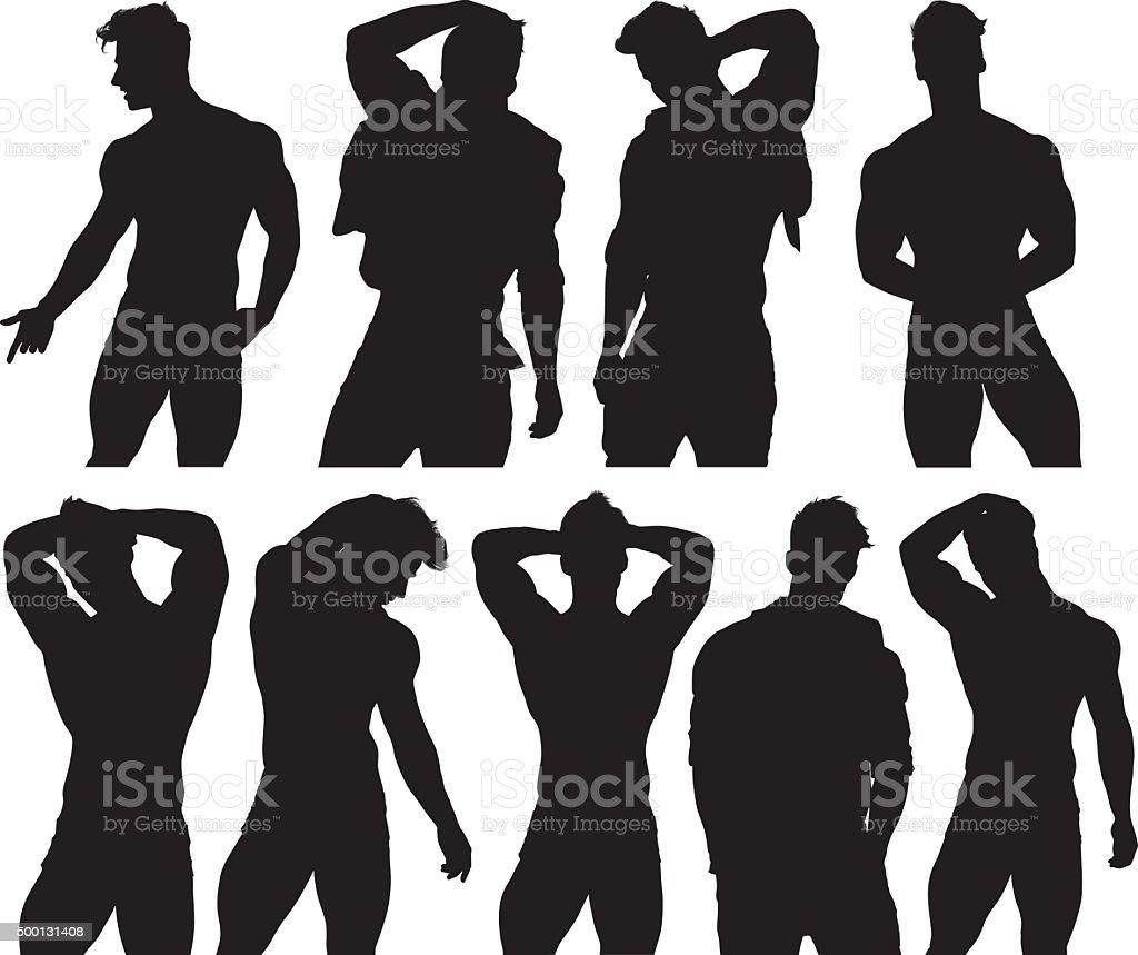 Men in various poses vector art illustration