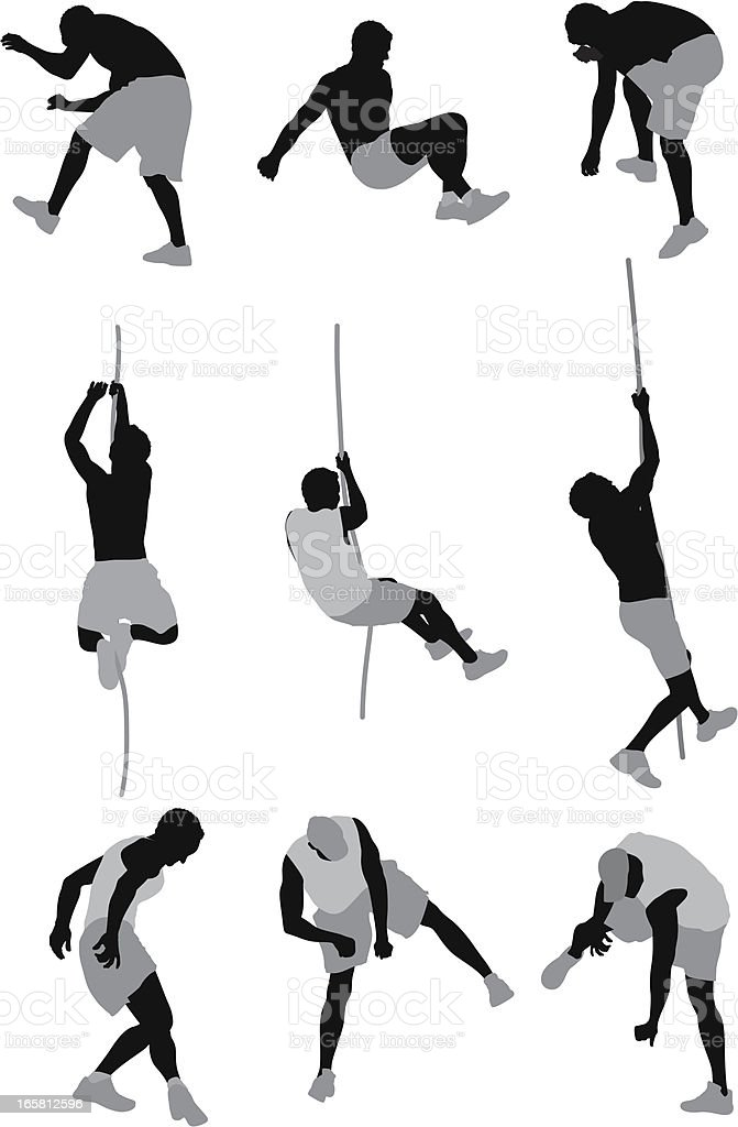 Men involved in different sports activities royalty-free stock vector art