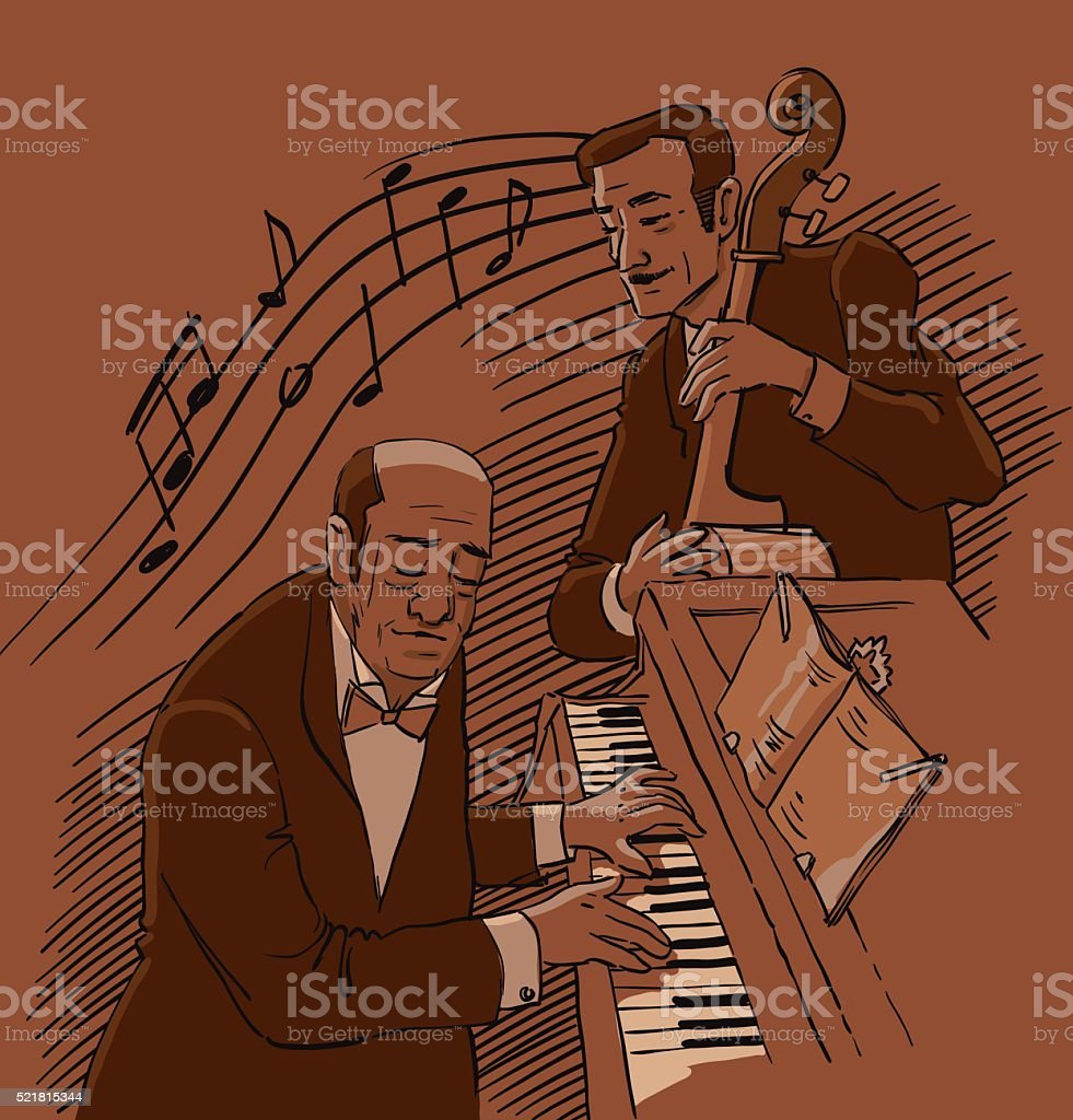 Men of Jazz vector art illustration