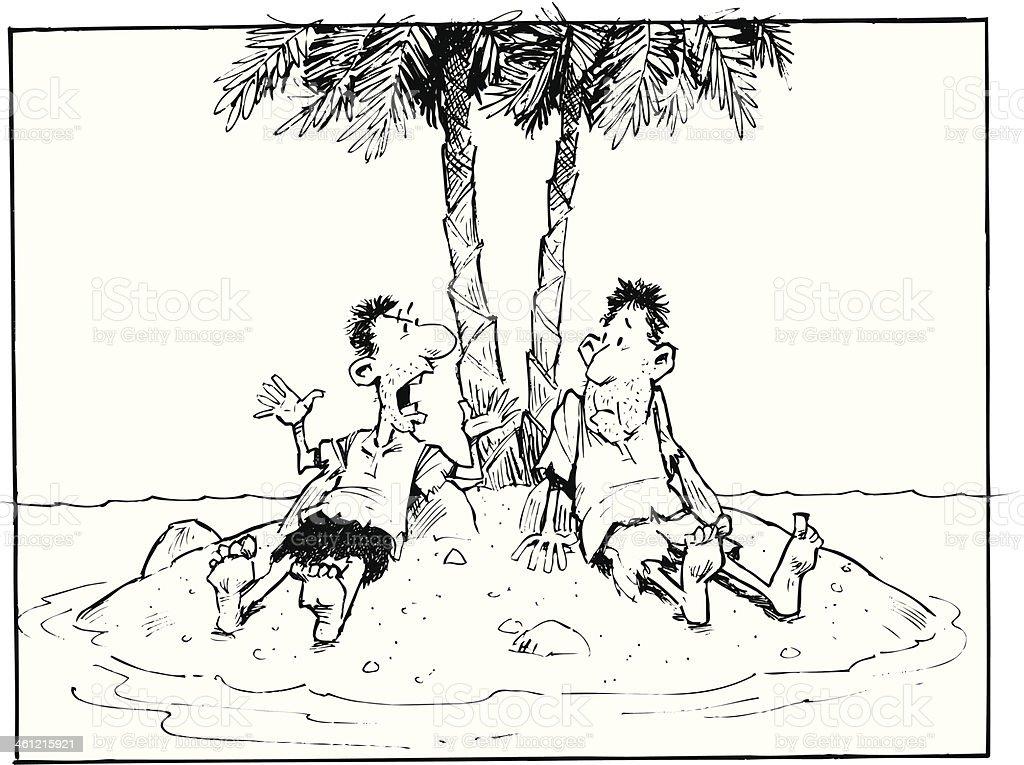 Men On Deserted Island royalty-free stock vector art