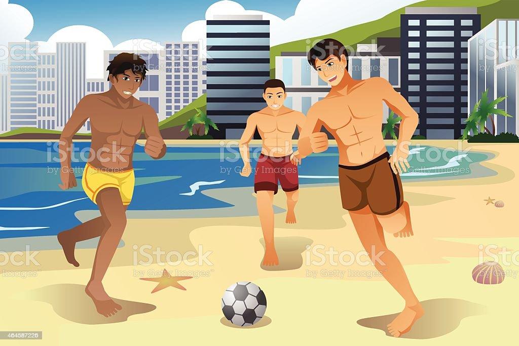Men playing soccer on the beach vector art illustration
