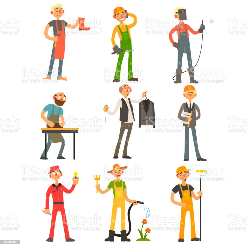 Men Profession Colourful Set vector art illustration