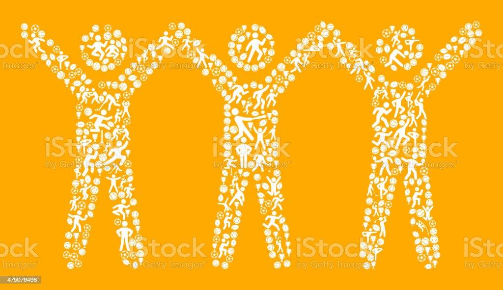 Men Raising Hands Fitness Sports and Exercise pattern vector background vector art illustration