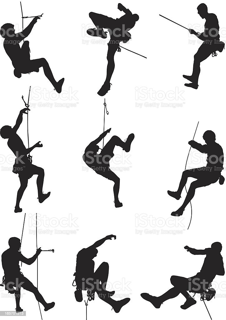 Men rappelling and rock climbing vector art illustration
