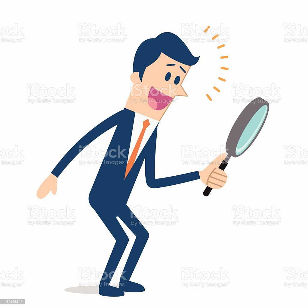 Men searching with magnifying glass vector art illustration